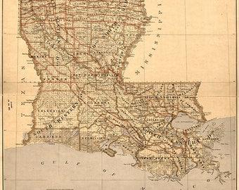 Old Louisiana Map Etsy - Map louisiana