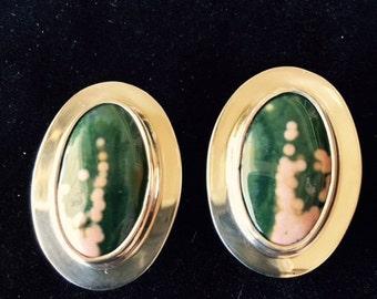 Ocean jasper and sterling silver earrings