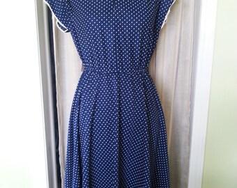 Vintage dress, vintage blue dress, vintage polka dot dress, 1970's dress, blue and white polka dot dress, vintage blue and white polka dots
