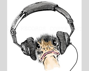 DJ Ostrich with headphones Art Print