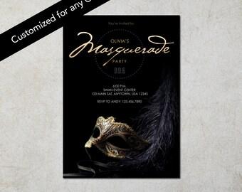 Black Masquerade Invitation - Invitacion de Mascarada Negra: Digital File