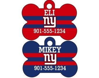New York Giants Pet Id Dog Tag Personalized w/ Your Pet's Name and Number