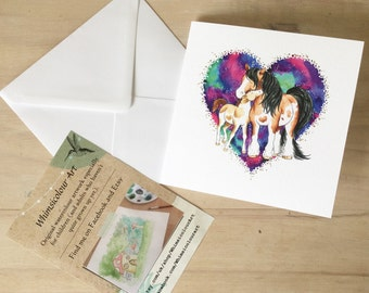 Horse Mare and Foal Greetings card - SINGLE CARD, mother and baby greetings card, birthday, Mother's Day, fathers day