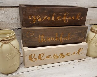 Grateful Thankful Blessed, Mason Jar Centerpiece, Rustic Decor,  Rustic  Centerpiece, Mason Jar Decor,  Table  Centerpiece