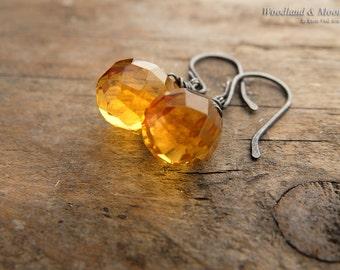 Citrine earrings, drop earrings, sterling silver earrings, yellow gemstone, gemstone jewelry, oxidized sterling silver, woodlandandmoon
