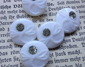 5 old white / glass buttons - Dragonfly motif with clear rhinestone - rare - beautiful