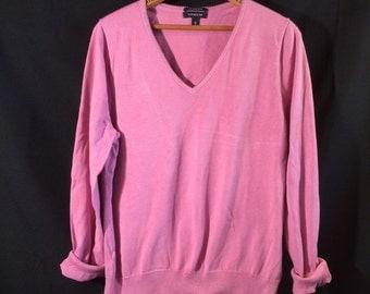Pretty pink cotton sweater, woman size X Large