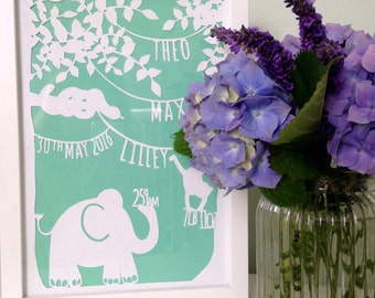 New Baby Personalised Jungle Papercut. Perfect new baby gift or memento to celebrate your new arrival. Hand cut jungle design.