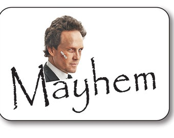 MAYHEM from ALLSTATE Commercial Safety PIN Fastener Name Badge Halloween Costume Prop