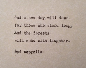 Led Zeppelin, Stairway to Heaven lyrics hand typed on antique typewriter scrapbooking