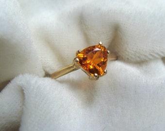 Orange Helenite Ring 14K Gold - Historic Gemstone