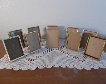 Vintage Gold Metal Picture Frame Set 3.25 x 4.25 Photo Decoration Mid Century Home Decor Rustic Fall Wedding Table Number Centerpiece Gift