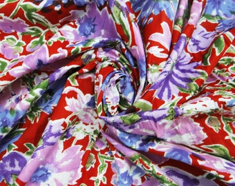 """Cotton Fabric Decorative  Dressmaking Fabric Red Quilting Indian Fabric Floral Print Cotton Drape Dress Width 42"""" By 1 Yd"""
