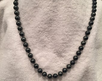 "Hematite Glass Bead 24"" Necklace - CA 1950's - Item NK124"