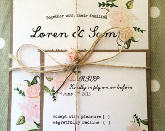 Rustic Pink Floral Wedding Invitation with RSVP, Vintage Floral, Rustic Wedding, Wedding Invitations