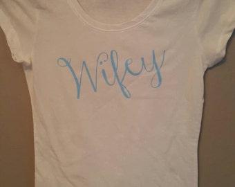 Wifey short-sleeve, cotton, crew neck shirt