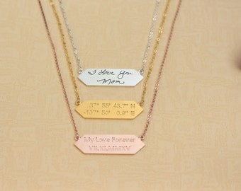 20% OFF-Engraved Custom Handwriting Necklace-Personalized Signature Necklace-Narrow Bar Necklace-Memorial Necklace - Sympathy Gift