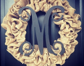 Basic everyday burlap wreath with Monogrammed inital- letter can be any color