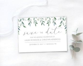 Digital Save the Date Card Postcard / Floral Save the Date Template / Botanical Wedding Invitation / Printable Botanical Save the Date