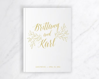 Gold Guestbook / Wedding Journal / Custom Guest Book / Hardcover Guest Book / Rustic Wedding Gift / Rustic Guestbook / Personalized Journal