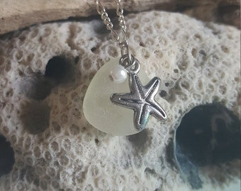 Sea Mist/Frosted Clear Sea/Beach Glass Necklace