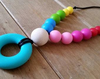 Silicone teething jewellery, nursing necklace, breastfeeding, babywearing,  with natural wood beads UK