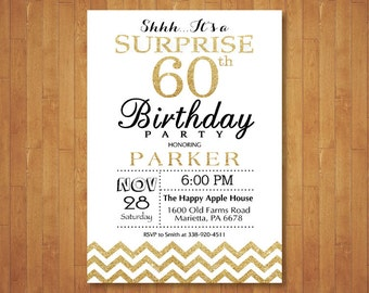 Surprise 60th Birthday Invitation. Glitter Gold and White Chevron. 50th 60th Any Age. Adult Birthday. Men or Women Bday. Printable Digital.