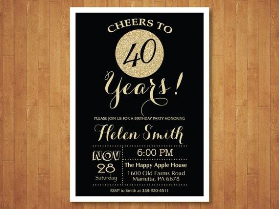 Favorito 40 compleanno invito. Nero e oro Glitter. Cheers a 40 anni. KZ59