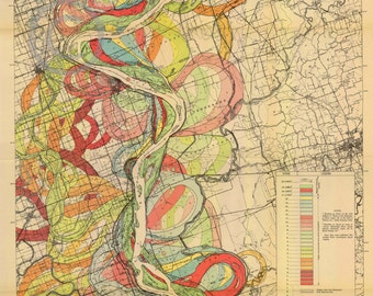 1944 Fisk Mississippi Meander Map Ancient River Sheet Louisiana Missouri 3 of 15- Reprint