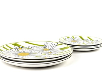 Mikasa Poppy Dinner Plates Eight Small Large Dinnerware Replacement Mid-Century Dining Cera-Stone 3159-M Japan Floral Flower Green Yellow