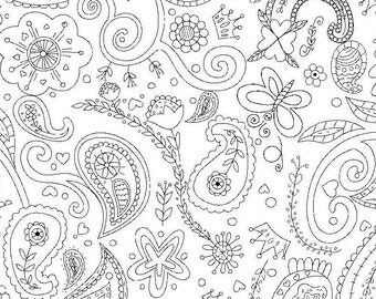 Color Me Princess Paisley White by Michael Miller - Black and White Outline - Quilting Cotton Fabric - fat quarter