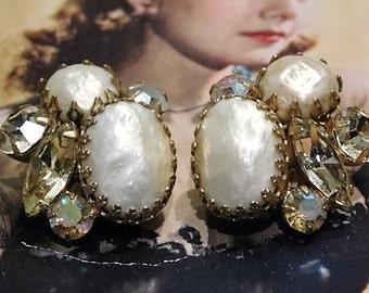 1960s Rhinestone Earrings Clip On Mid Century Vintage Aurora Borealis Faux Baroque Pearl Haskell Style Wedding Bride Bridal Fashion Jewelry