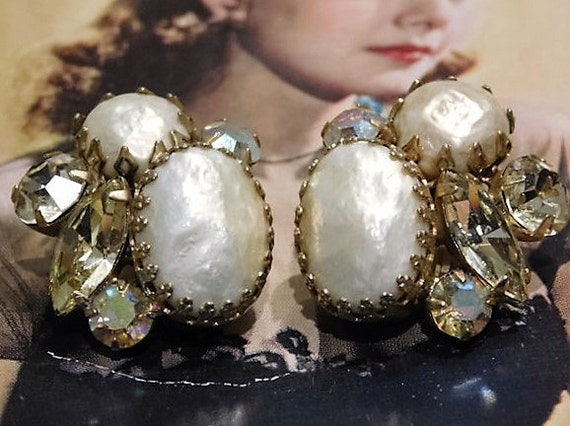 1960s Rhinestone Earrings Clip On Mid Century Vintage Aurora Borealis Faux Baroque Pearl Haskell Style Wedding Bride Bridal Fashion Jewelry