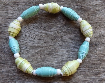 Girls/Women's Blue and Green Paper Bead Bracelet - Paper Bead Bracelet, Bracelet, Paper Bead, Beaded Bracelet, Blue, Green DominiquesWares