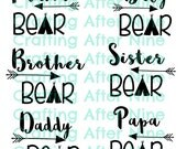 Bear Family, Mama Bear, Baby Bear, Papa Bear, Sister Bear, Brother, Commercial Use, Set of 7 SVG File, INSTANT DOWNLOAD