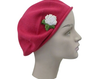 Ladies Cranberry Cotton Beret Hat With an Embroidered Cream Rose Stylish Fashionable Comfortable Cotton Womens Hat Ladies Beret