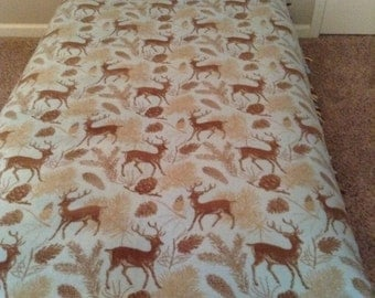 Unique Handmade No Sew Stone Blue Deer Blanket