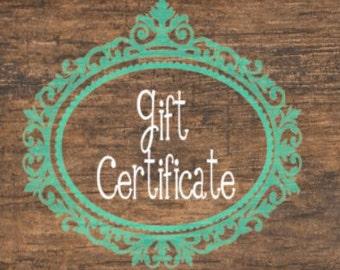 Gift Certificate, Online Gift Certificate, Printable Gift Certificate, Gift Card 15