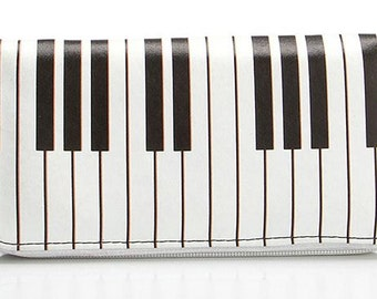 Black & White Piano Pleather Wallet, Musician Wallet, Zippered Wallet, Zippered Pouch, Spacious Wallet, Gift for Her,Gift For Everyone