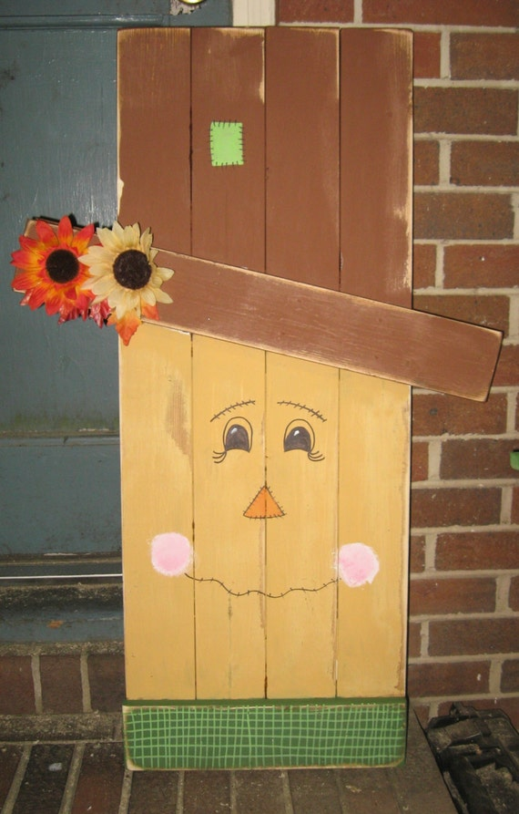 Wooden scarecrow reversible scarecrow snowman outdoor - How to make a snowman out of wood planks ...