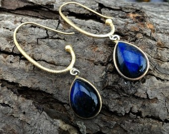 Vibrant Dangle Earrings-MOR. Genuine Labradorite Gemstone and  Pure 925 Silver. 18k Gold Polish. Meaningful gift.