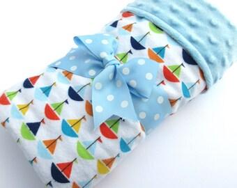 Baby Stroller Blanket - Sailboat Baby Blanket - Baby Boy Blanket - Blue, Green, Red, Orange Sailboat Print - Blue  Minky