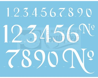 "Stencil -  Black Chancery Numbers 1"" & 2"" - ST-151"