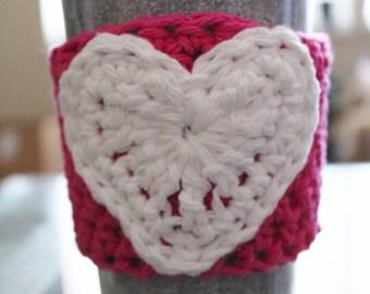 100% Cotton Heart Crocheted Coffee Cozy
