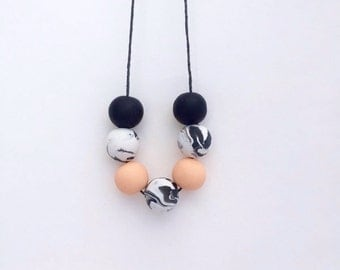 Polymer clay necklace, beaded necklace, minimal necklace