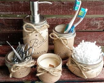 5 Piece Mason Jar Bathroom Set, Mason Jar Soap Dispenser, Rustic, Bathroom  Decor
