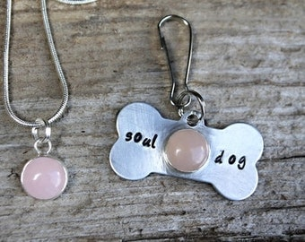 Rose Quartz Necklace, Matching Owner, Dog Collar Charm, Crystals for Pets, Stamped Dog Tag