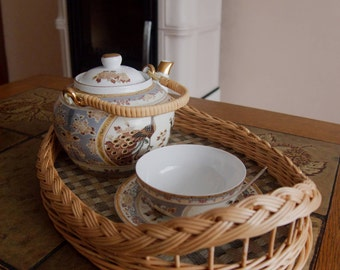 Wicker serving tray