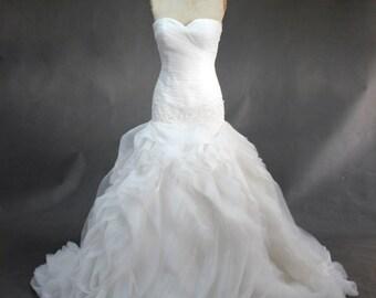 White Hand Sewn Organza Flowwy  Ruched Bottom Mermaid Wedding Gown