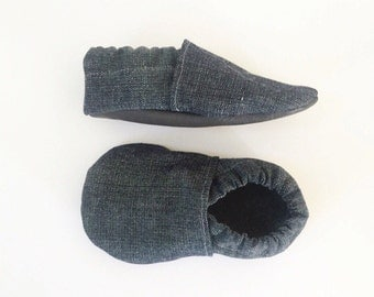 Denim Soft Sole Moccasins with Leather Soles // Gender Neutral Crib Shoes for Baby and Toddler